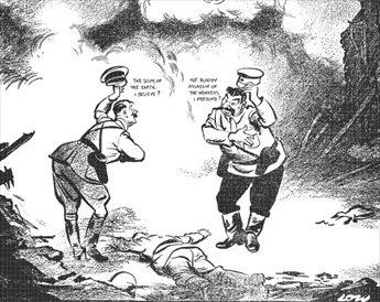 English political cartoon after Soviet-German division of Poland, September 20, 1939