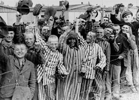 Liberated Dachau camp prisoners