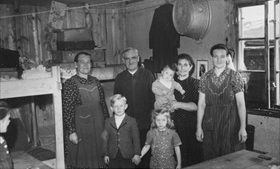 Refugee family in Bavarian camp, 1945