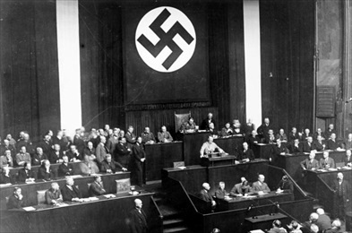 Hitler urging Reichstag to enact Enabling Act, March 23, 1933