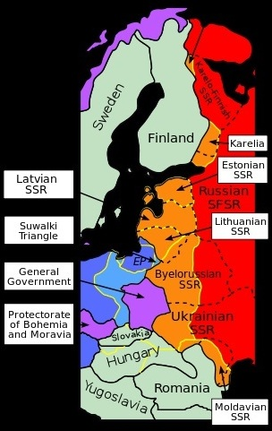 Actual 1939–1940 German-Soviet territorial changes in Central Europe