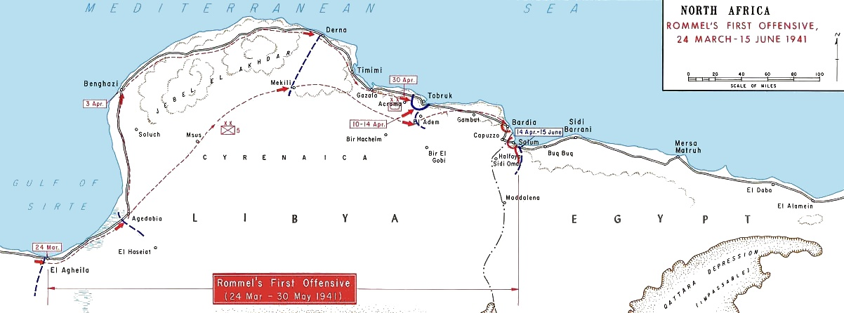 Map of Western Desert, showing Erwin Rommel's offensive, March 24 to June 15, 1941