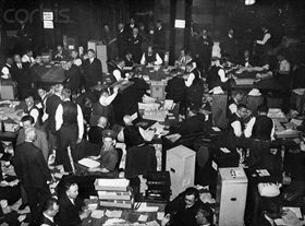Counting ballots, Saarland plebiscite, January 13, 1935