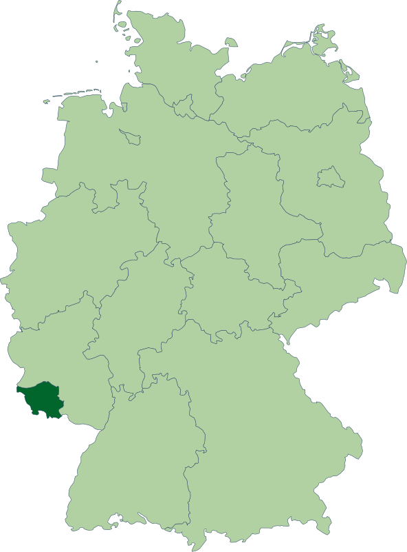 Location of the Saarland (dark green) in modern Germany