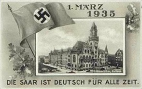 Saarland postcard celebrates Saarland's March 1, 1935, reintegration