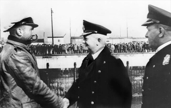 Doenitz and Raeder congratulate Prien after Scapa Flow, October 17, 1939