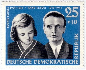 Scholls on East German postage stamp, 1961