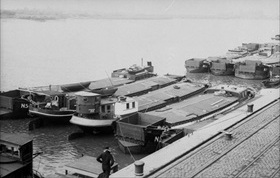 Barges being readied for Operation Sea Lion, Wilhelmshaven, August 1940