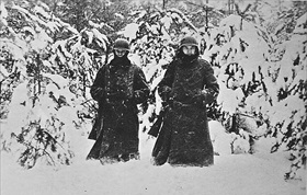 Battle of Moscow: German soldiers in heavy snow west of Moscow, December 1941