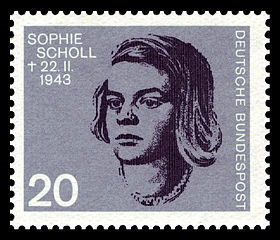 Sophie Scholl on West German postage stamp, 1964