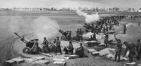 Soviet artillery, Seelow Heights, April 1945