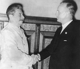 Stalin-Ribbentrop handshake, August 24, 1939