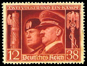 1941 Adolf Hitler and Benito Mussolini postage stamp