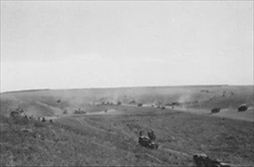 Battle of Kursk: II SS Panzer Corps advancing on Prokhorovka, July 11, 1943