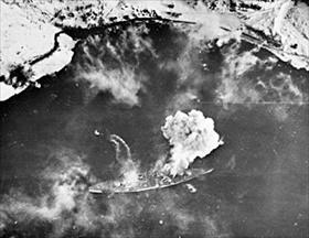"""""""Tirpitz"""" under attack on April 1, 1944, during Operation Tungsten"""