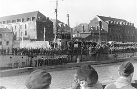 U-123 arriving in Lorient, occupied France, Operation Drumbeat, February 1942