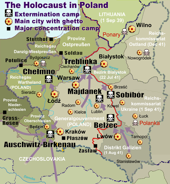 Map of Nazi Death Camps in Eastern Europe