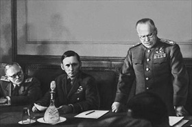 German unconditional surrender, Berlin, May 8, 1945. Zhukov reads capitulation act