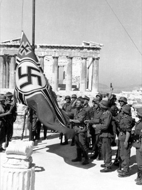 Operation Marita: Germans raising swastika over Acropolis