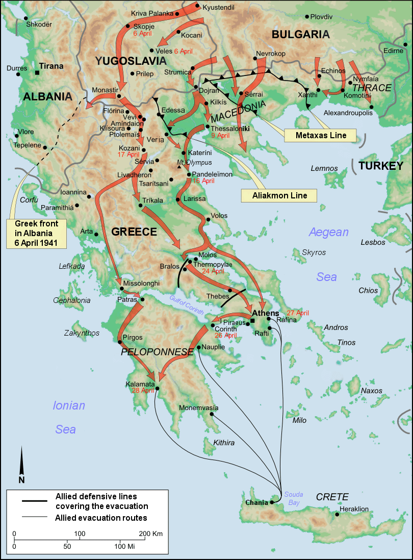 Map of German invasion of Greece, 1941