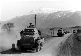 Balkans Campaign: German armored cars enter Greece, 1941