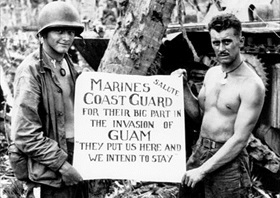 Mariana Islands Campaign: Marines salute Coast Guard, Guam, July 1944