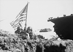 Mariana Islands Campaign: First flag on Guam, July 1944