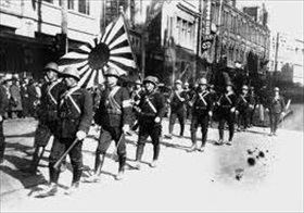 Victorious Japanese in an Indonesian city, 1942
