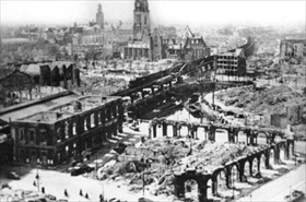 German military incursions in Europe: Destroyed Rotterdam RR station