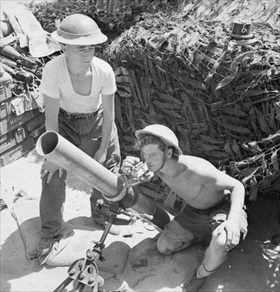 British mortar at Anzio, Italy, May 18, 1944