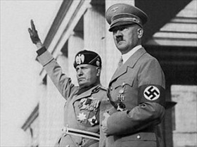Mussolini and Hitler review Nazi Party troops, Munich, September 25, 1937