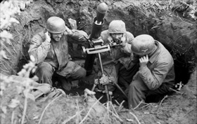 German paratroopers ready their grenade launcher, Monte Cassino, Italy