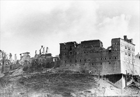 Monte Cassino abbey in ruins