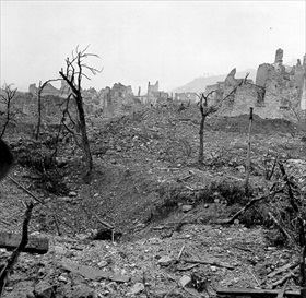 Battle of Monte Cassino: Town of Cassino, Italy, 1944, after four-month battle for hilltop abbey