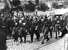 Mussolini & Co. at head of March on Rome, October 28, 1922