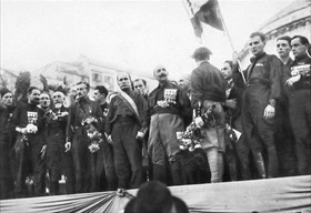 Mussolini speaking to Fascist Party Blackshirts, Naples, October 24, 1922