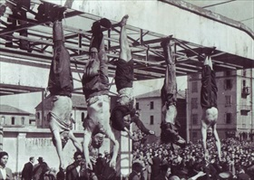Italian resistance movement: Corpses of Benito Mussolini and Claretta Petacci, Milan, April 29, 1945