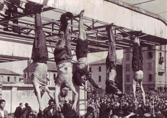 Corpses of Benito Mussolini and Claretta Petacci, Milan, April 29, 1945