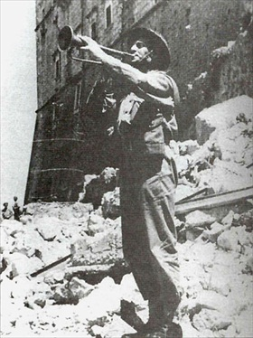 Polish bugler Master Corporal Emil Czech at Monte Cassino, Italy, May 1944
