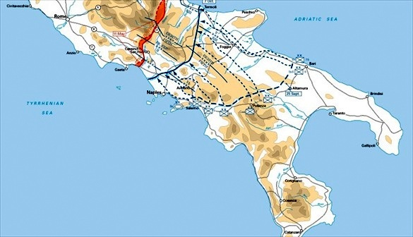 Anzio beachhead in relation to Rome (due north)