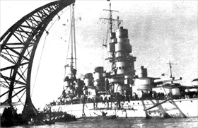 Battleship Caio Duilio undergoing repairs after Taranto raid