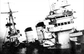 Semi-submerged Italian battleship Conte di Cavour after Taranto raid