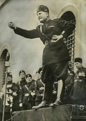 Benito Mussolini at a National Fascist Party rally