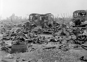 Atomic bombing of Hiroshima and Nagasaki: Hiroshima, September 1945. Genbaku (A-Bomb) Dome in background