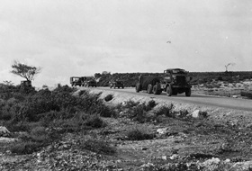 """Fat Man"" in transit to airfield, Tinian, August 8, 1945"