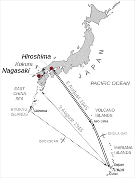 Mission map for the atomic bombings, August 1945