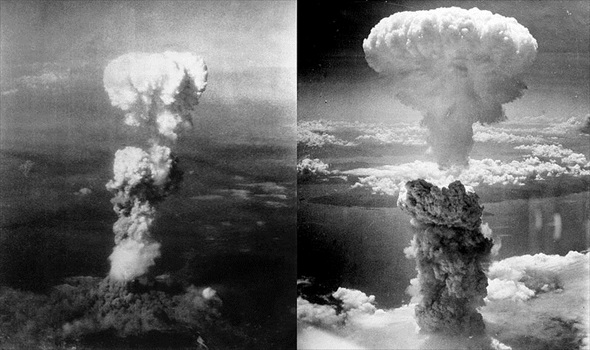 Mushroom clouds over Hiroshima and Nagasaki, August 1945