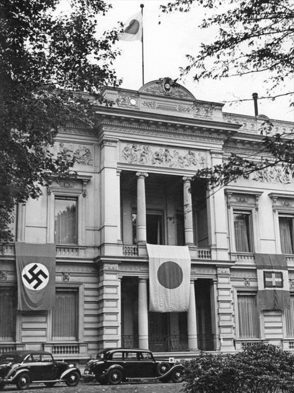 Japanese embassy decked out with flags of Tripartite Pact partners, September 1940
