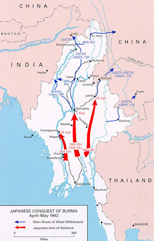 Japanese inroads in Burma, April–May 1942