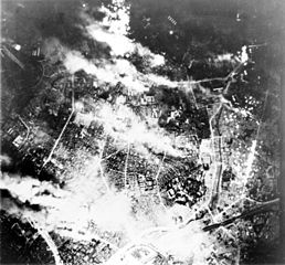 Firebombing campaign against Japan: Tokyo burns under a B-29 firebomb assault